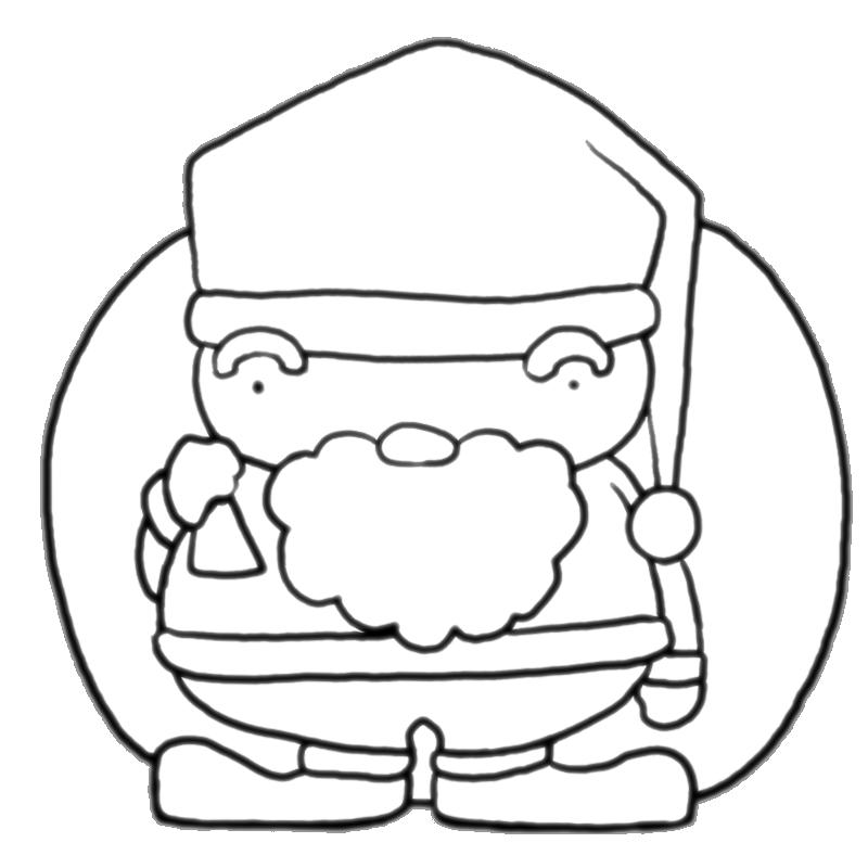 冬のイベントクリスマスプレゼントの袋を持つサンタクロース塗り絵