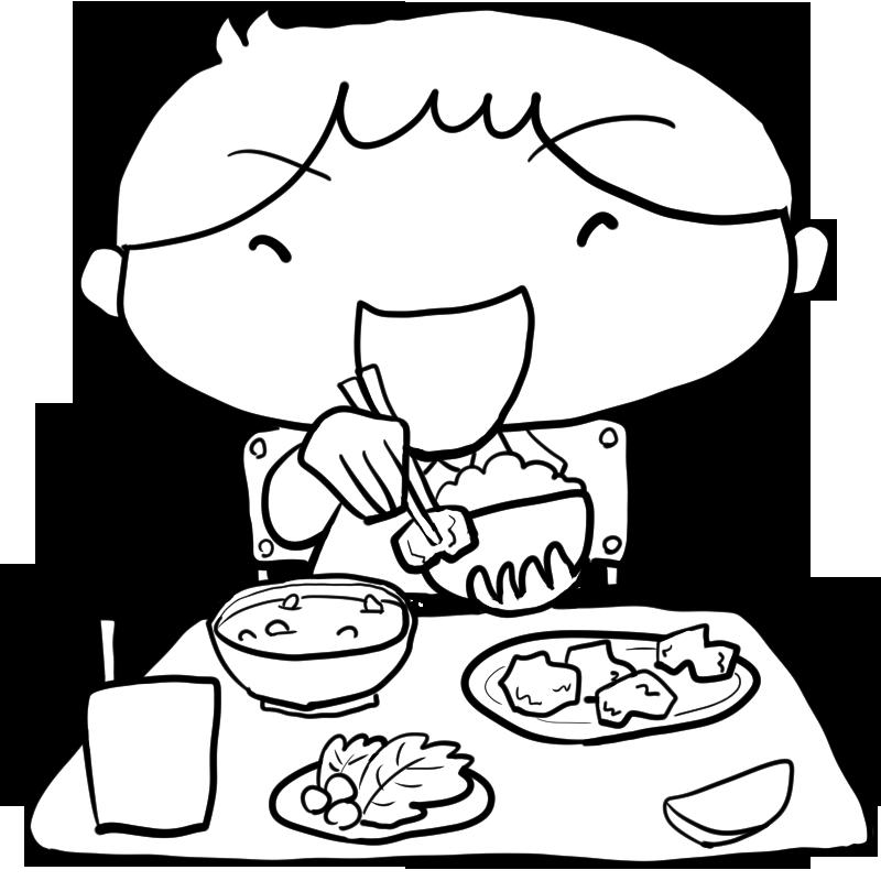 食欲の秋小学校で給食をモリモリ食べる男の子塗り絵かわいい無料