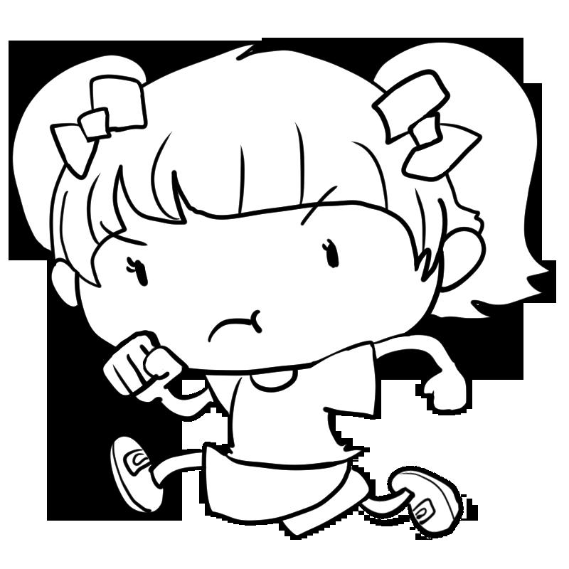 スポーツの秋運動会体操服で走る小学生の女の子塗り絵かわいい
