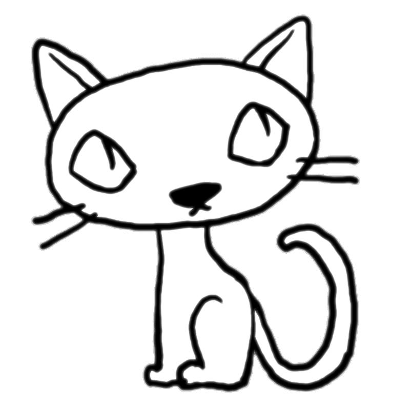 しゃがんで斜め上を見る猫黒猫塗り絵かわいい無料イラスト素材