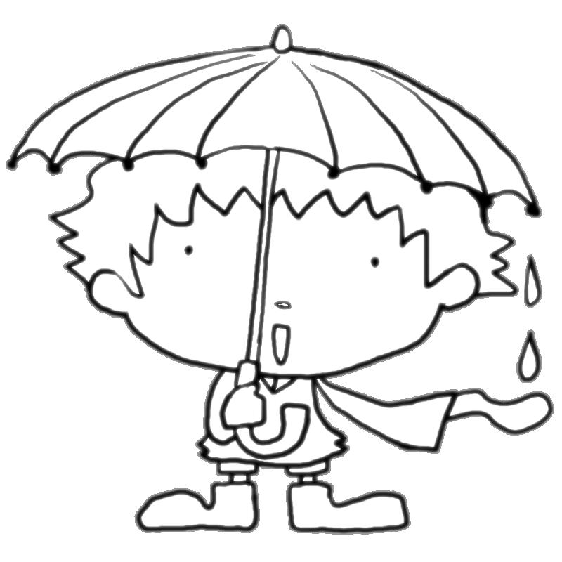 梅雨青い傘とレインコートと長靴で雨を楽しむ男の子塗り絵