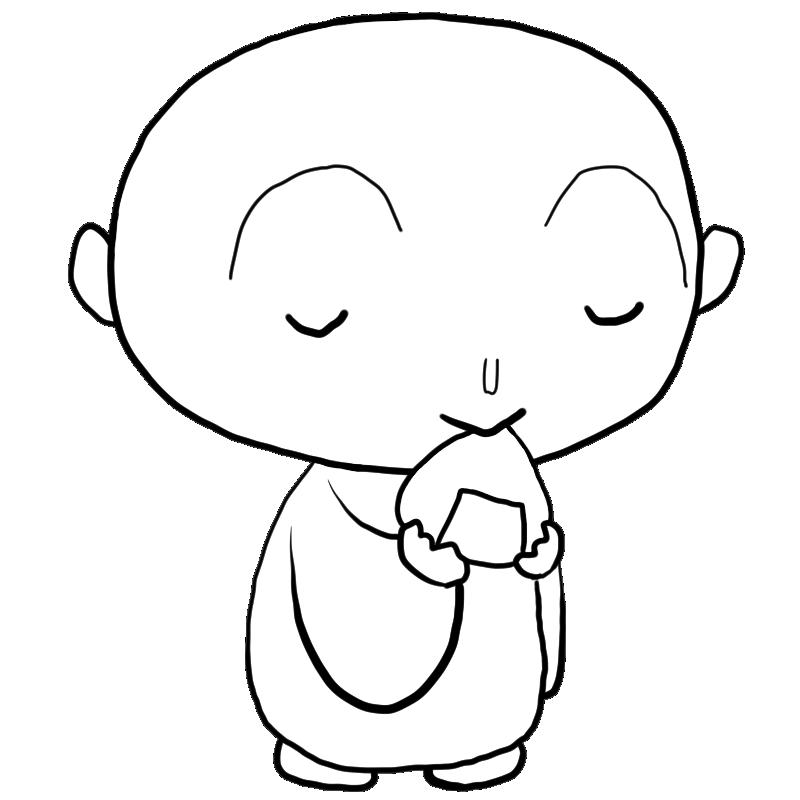 穏やかな笑顔でお供え物のおにぎりを手に持って食べるお地蔵さん塗り絵