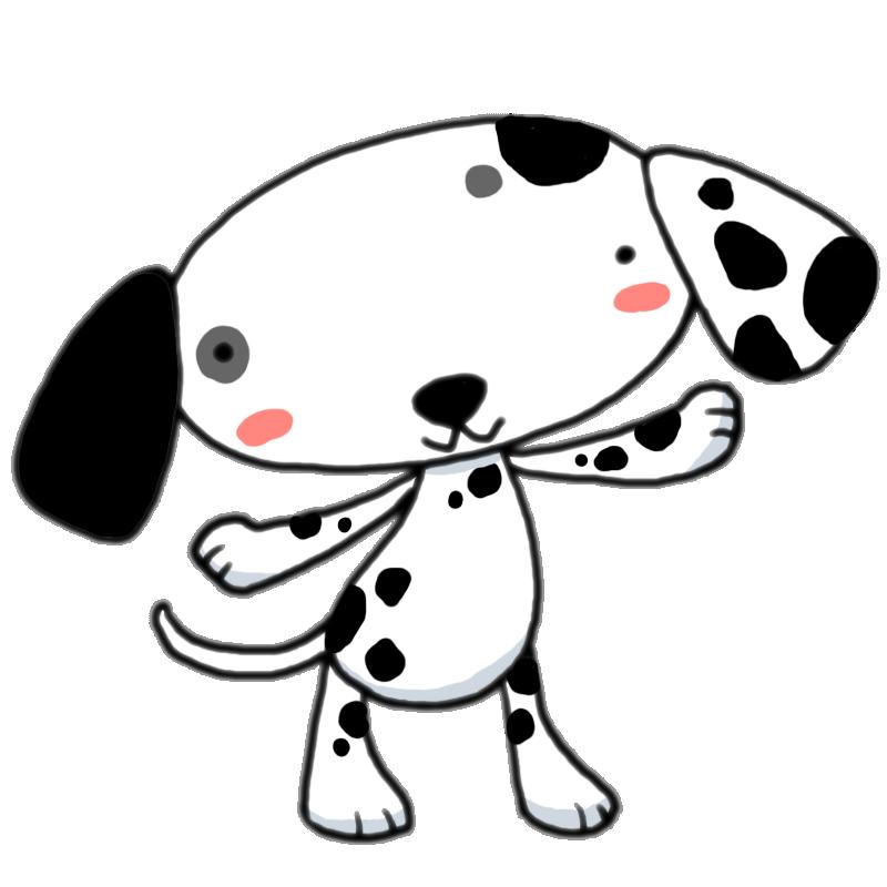 101匹わんちゃんといえばこの犬種 両手を広げて元気アピールするダルメシアン かわいい無料イラスト素材 商用利用可