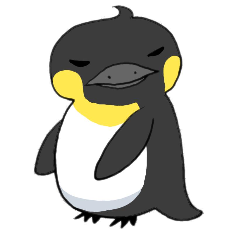 首をひねってこっちを見ている目つきの悪い大人の皇帝ペンギン