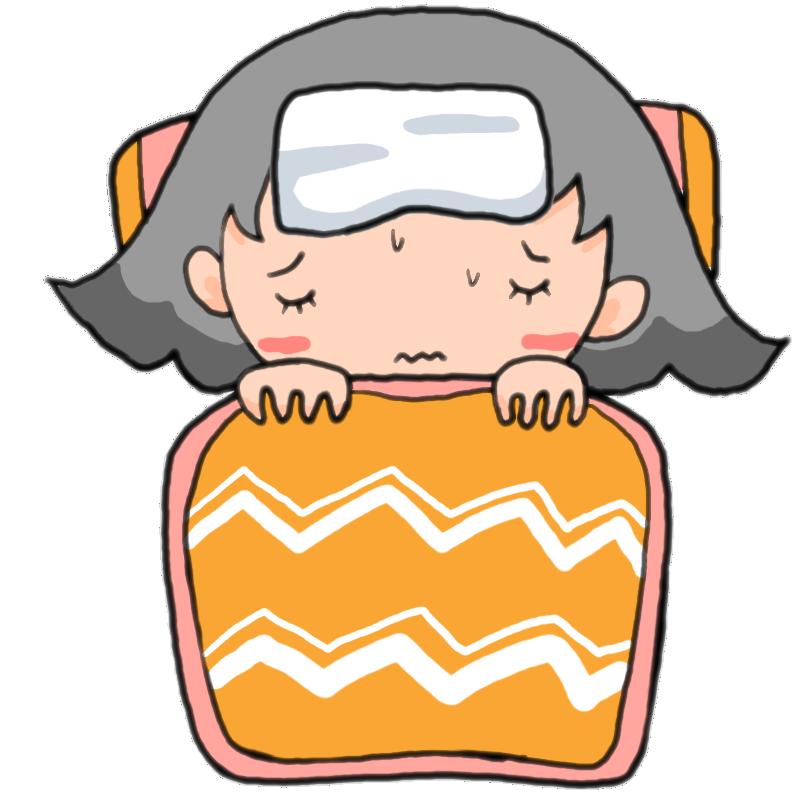 風邪?インフルエンザ?発熱のため頭を冷やして布団でおとなしくする女の子