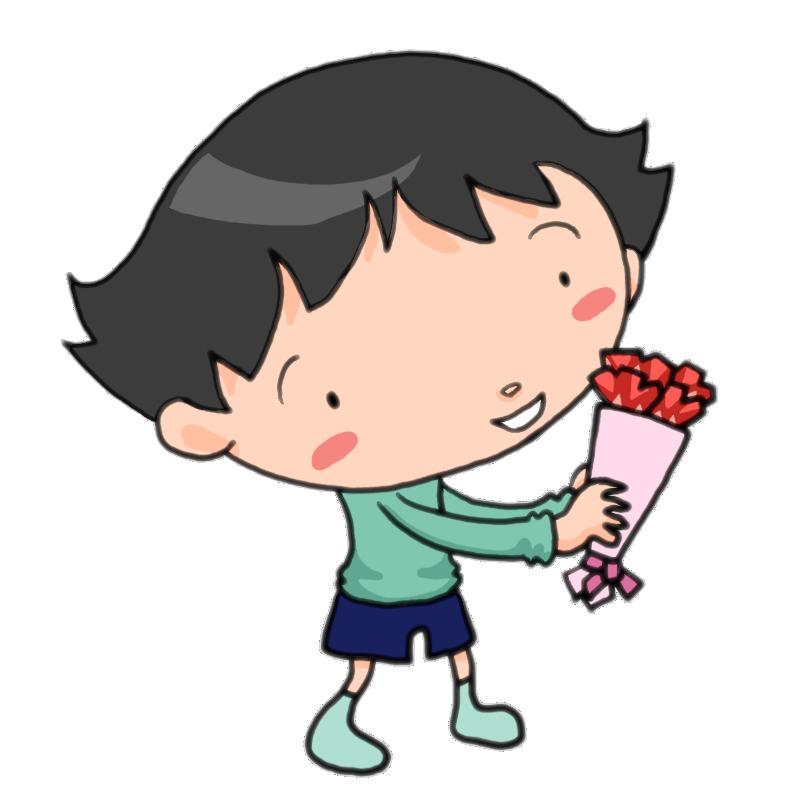 母の日にカーネーションをプレゼントする男の子かわいい無料イラスト