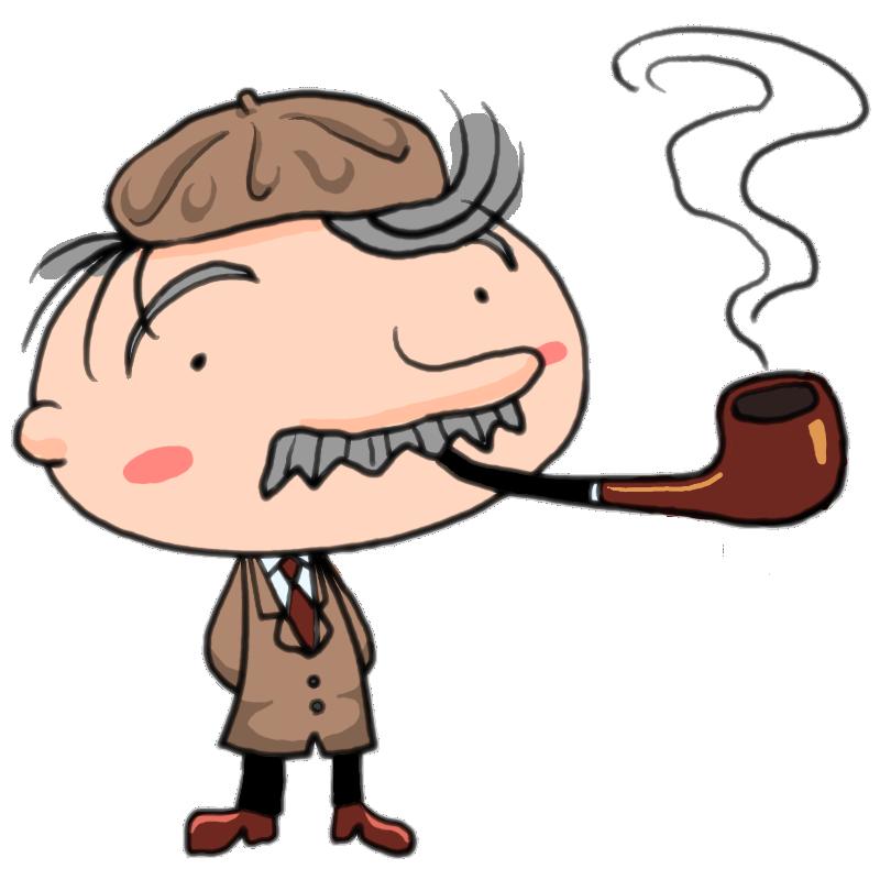パイプくわえて煙プカプカ ベレー帽かぶったヒゲのおじさまかわいい