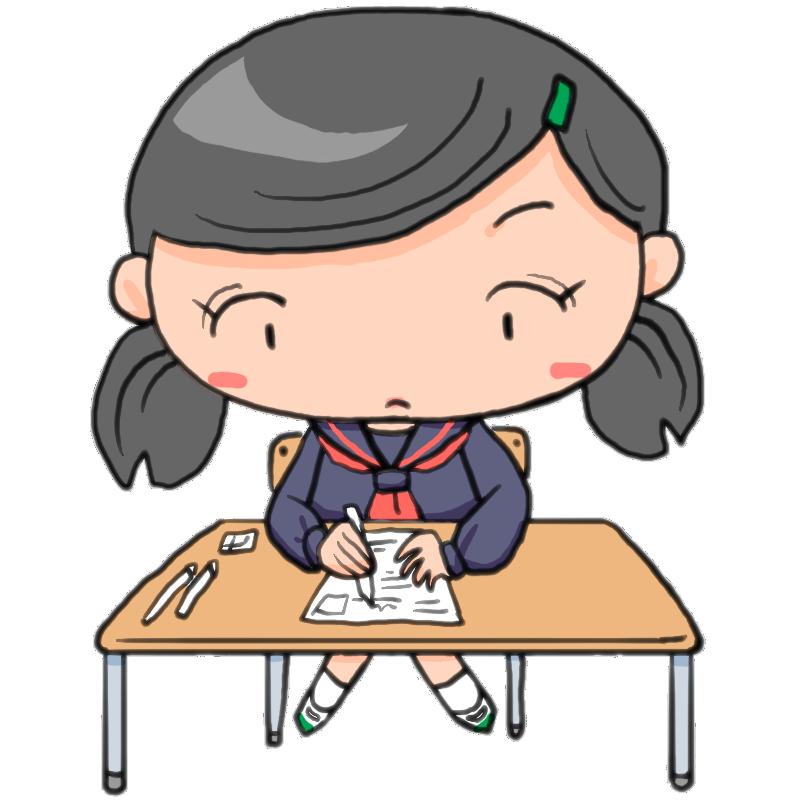 中間テスト期末テスト日ごろの勉強の成果を発揮する女子中学生