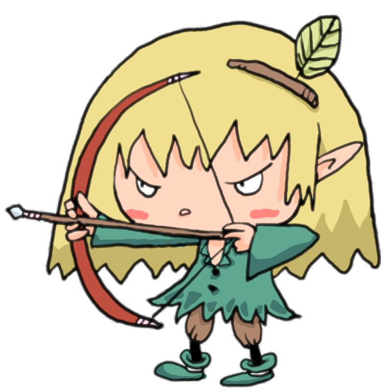 これで仕留めてみせる真剣な顔で弓矢で獲物を狙う妖精の男の子