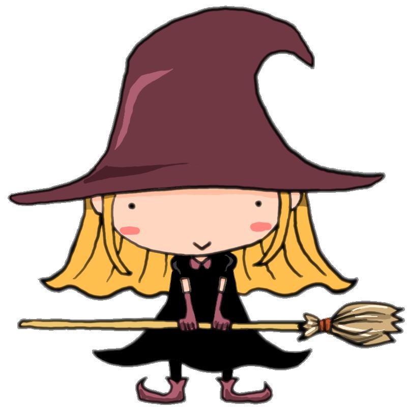 ハロウィンです!魔女の仮装でほうきを持ってニコっと笑う女の子
