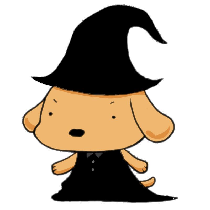 ハロウィンに魔法使いの格好で挑む犬
