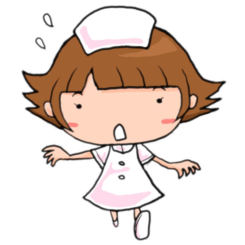 ナースコールにあわてて駆けつける看護師の女性かわいい無料イラスト