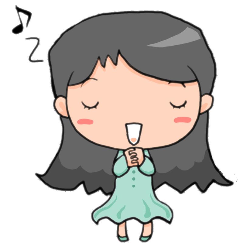 合唱コンクールです心をこめて歌を歌う女の子かわいい無料イラスト