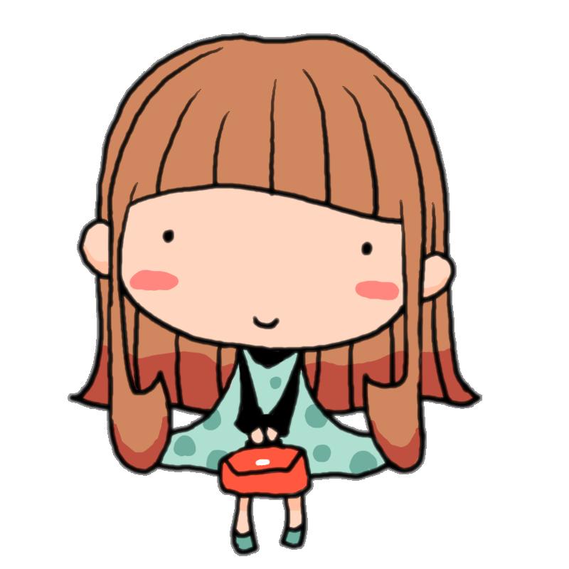 鞄を持ってちょこんと立つ水玉ワンピースの女の子かわいい無料イラスト