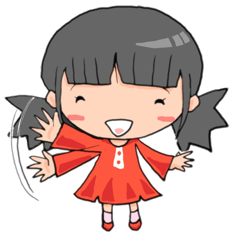 バイバーイ笑顔で手を振る女の子かわいい無料イラスト素材商用