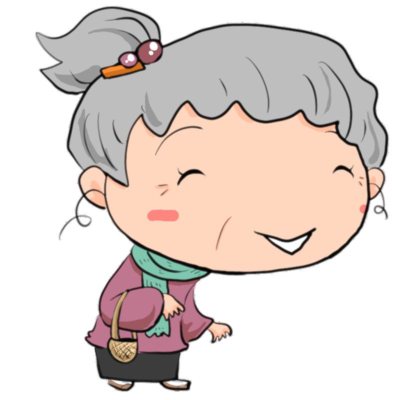 冬 マフラー巻いて散歩する女性の老人 おばあちゃん かわいい無料イラスト素材 商用利用可