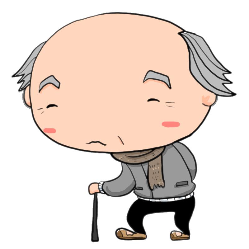 冬マフラー巻いて散歩する杖をついた男性の老人おじいちゃん