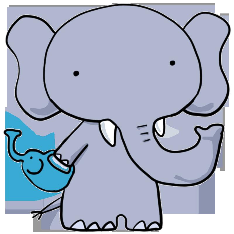 ぞうのじょうろを持つゾウ象かわいい無料イラスト素材商用利用可