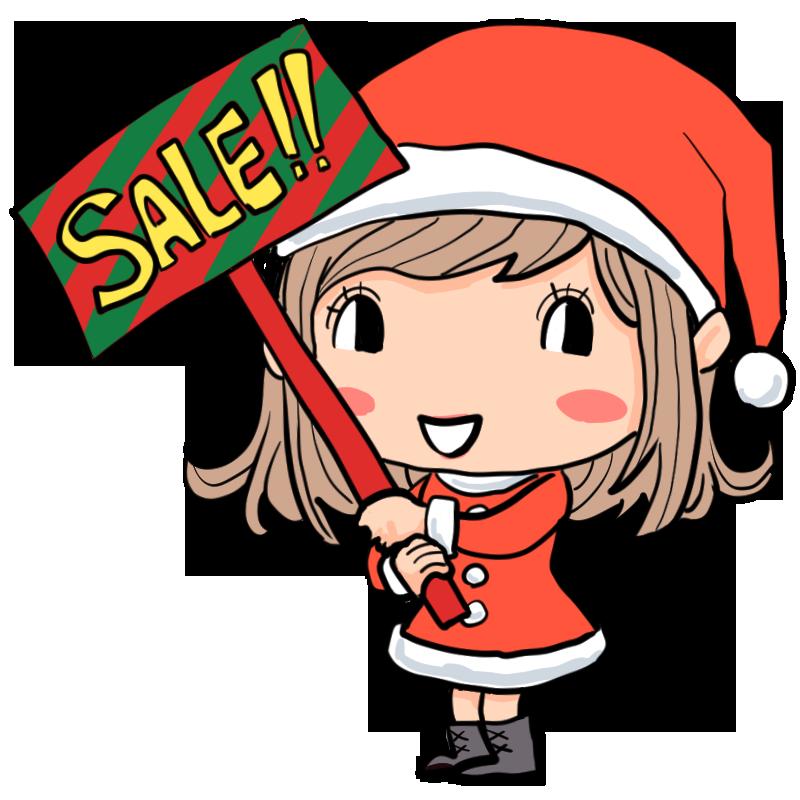 クリスマスセールサンタコスチュームで元気に売り子する女性サンタ