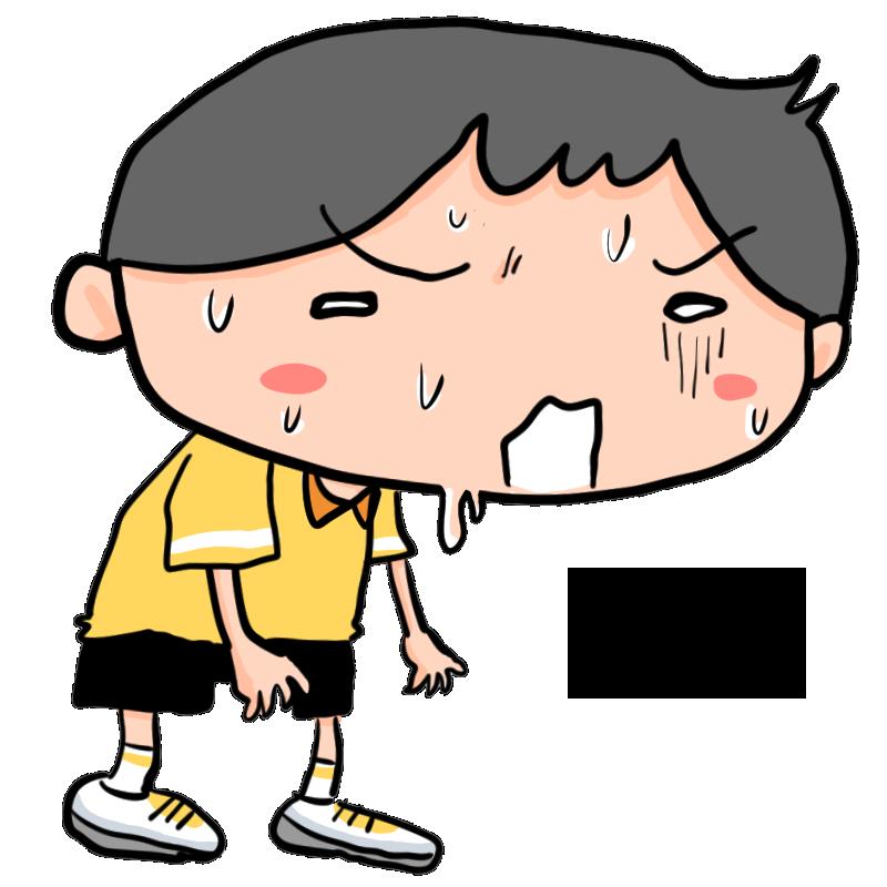 夏熱中症に気をつけろ汗めまい吐き気具合が悪くなる男の子