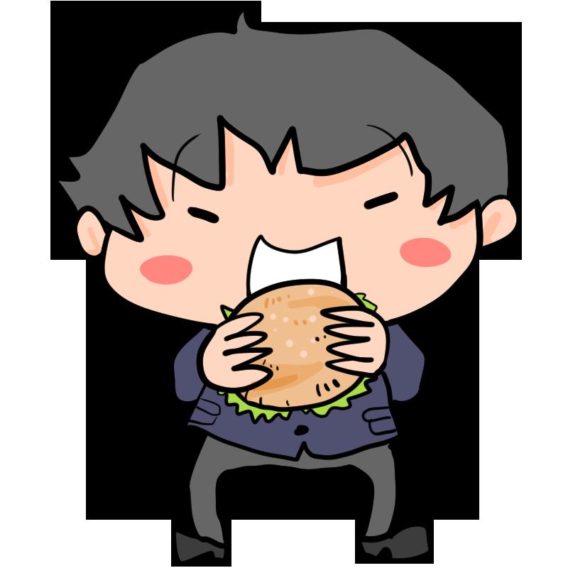 食欲の秋うれしそうにハンバーガーを食べる男子学生男子高生