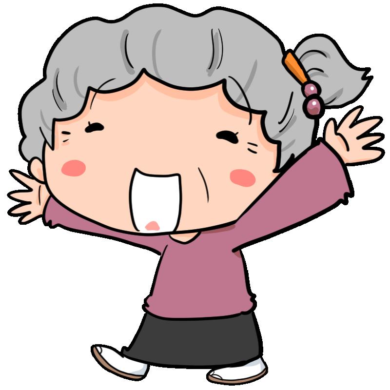 やったー 嬉しい 全身で喜びを表現する女性高齢者 おばあちゃん かわいい無料イラスト素材 商用利用可