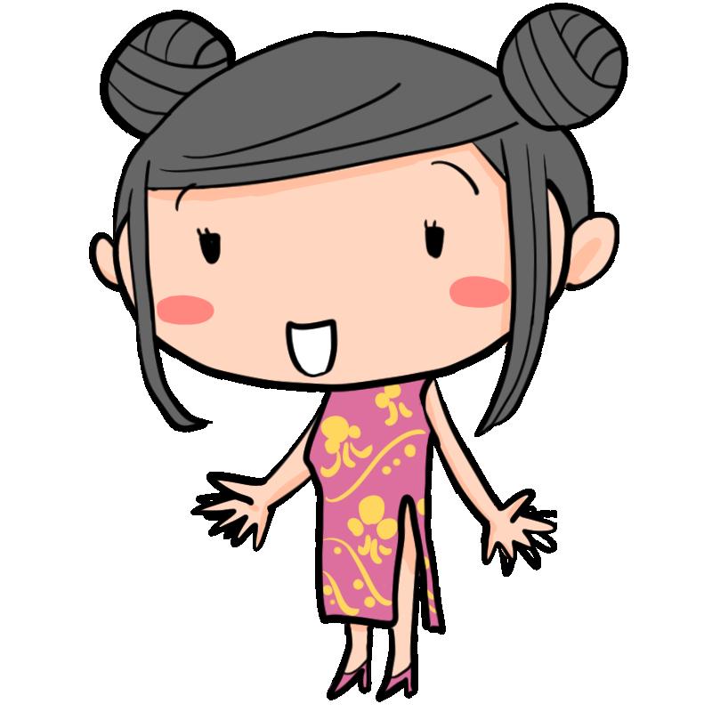 うっすら微笑むチャイナドレスの中国人女性外国人かわいい無料