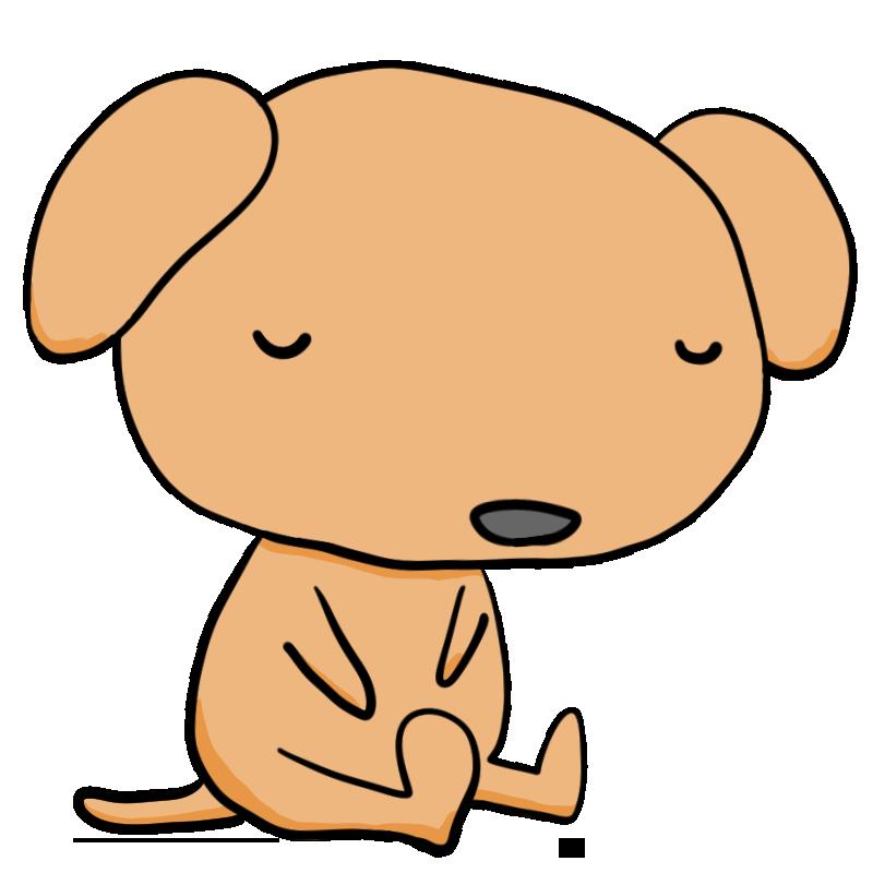 春眠暁を覚えず気持ちよさそうに寝る犬かわいい無料イラスト素材