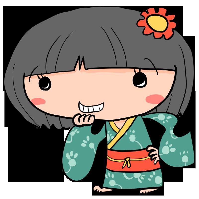 妖怪座敷わらし和服姿でおかっぱ頭の女の子が見せる不敵な笑み
