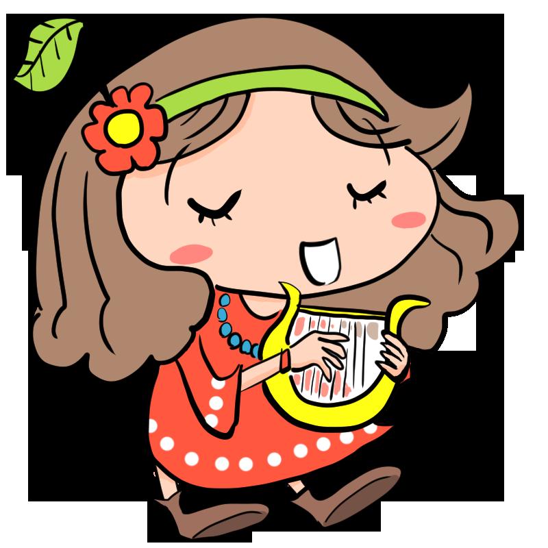 優雅に竪琴を奏でる吟遊詩人の女の子かわいい無料イラスト素材商用