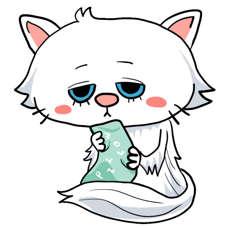 猫の王様枕を抱えてちょっと眠そうな白い毛並みホワイトのペルシャ