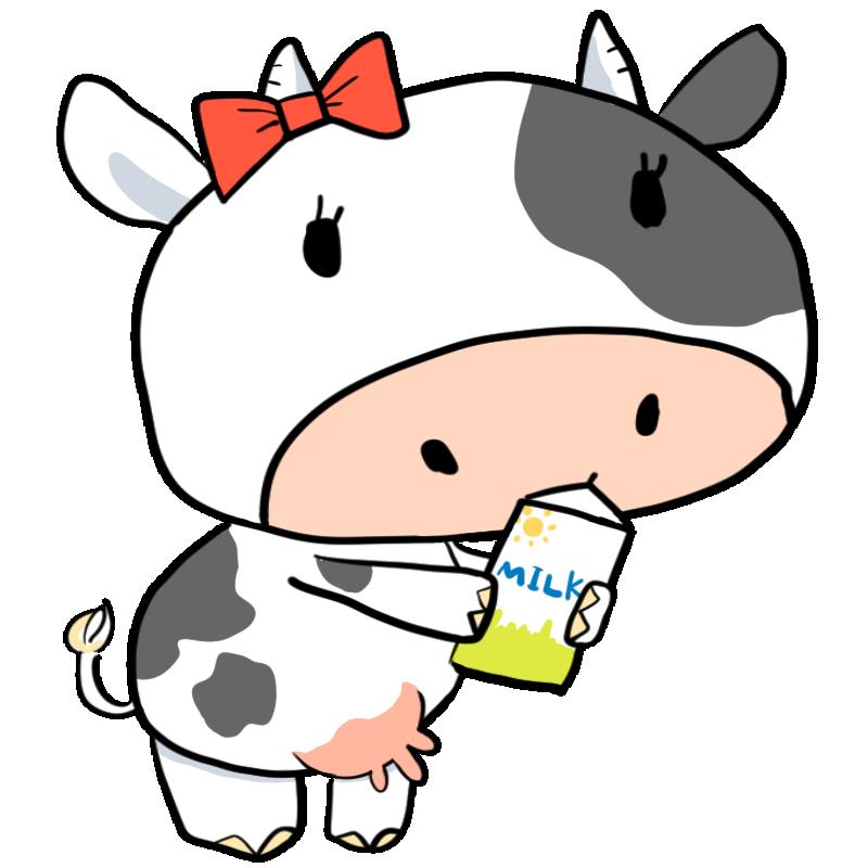 乳搾りでおいしい牛乳牛乳パックを持つ乳牛ホルスタインかわいい