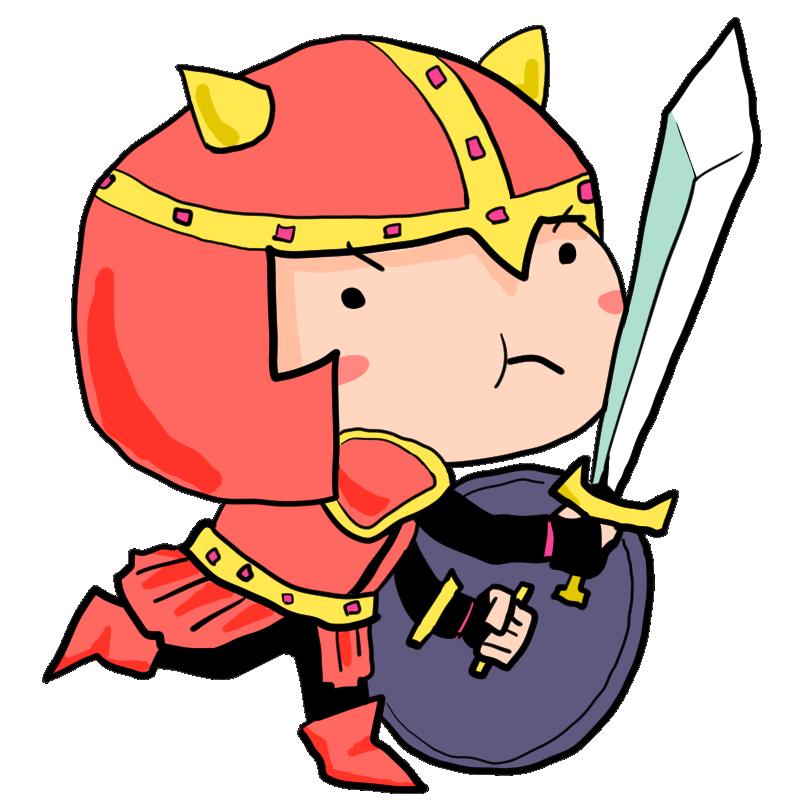 赤い鎧と盾を装備して剣を構えて立ち向かう中世の戦士かわいい無料