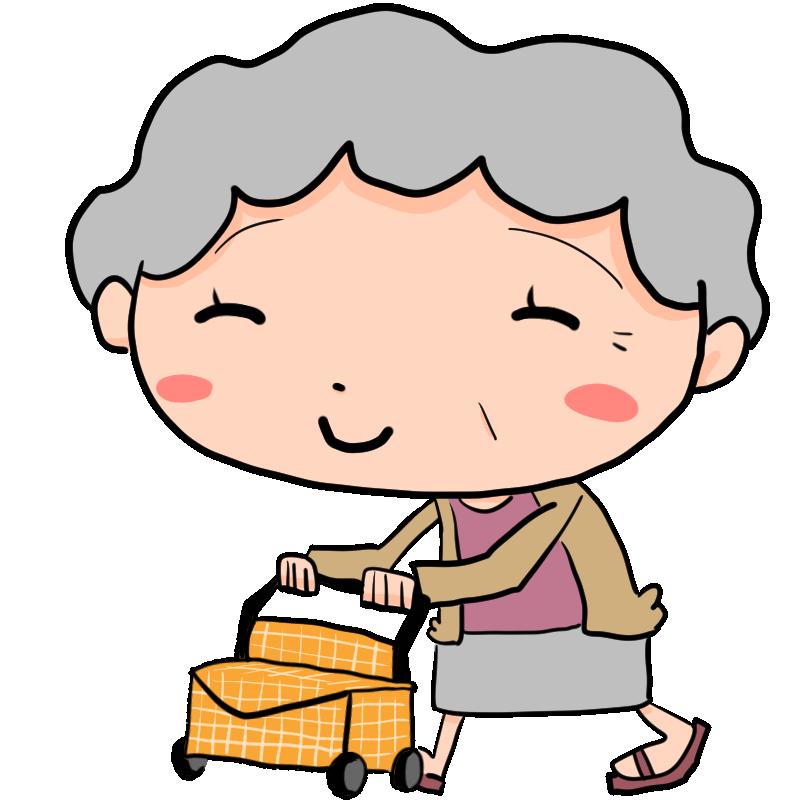 手押し車 シルバーカート を押しながら歩く穏やかな笑顔の女性の老人 おばあちゃん かわいい無料イラスト素材 商用利用可