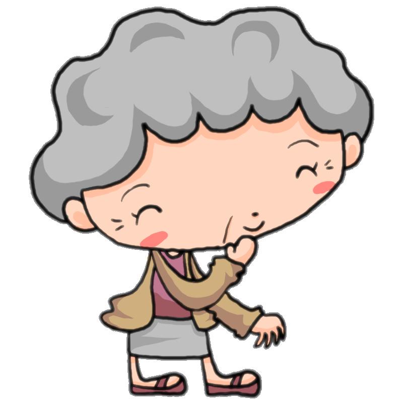口に手を当てて穏やかな笑顔の女性の老人 おばあちゃん かわいい無料イラスト素材 商用利用可
