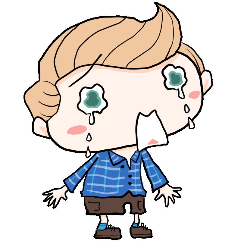 涙をボロボロこぼして激しく泣いている青い目の外国人 白人 の男の子 かわいい無料イラスト素材 商用利用可