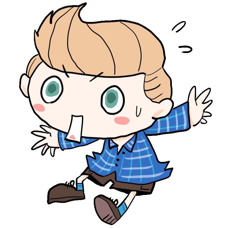 飛び退くように驚く青い目の外国人白人の男の子かわいい