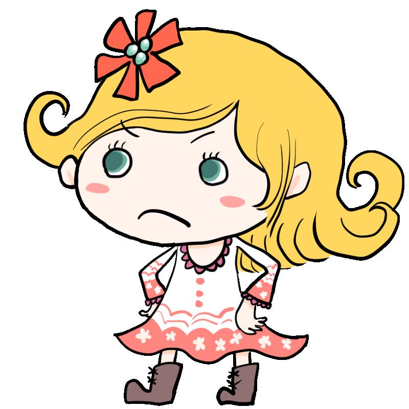 腰に手を当てて怒る金髪で青い目の外国人白人の女の子
