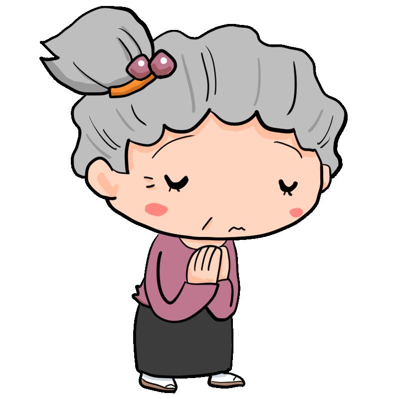 神様どうかお願いします神妙な顔つきで手を合わせて祈るおばあさん