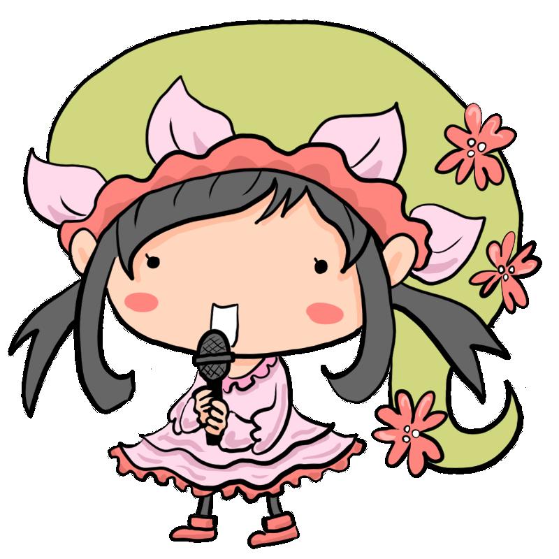 桜の妖精が歌うと春が来て華が咲くのかもしれませんマイクを持って歌う