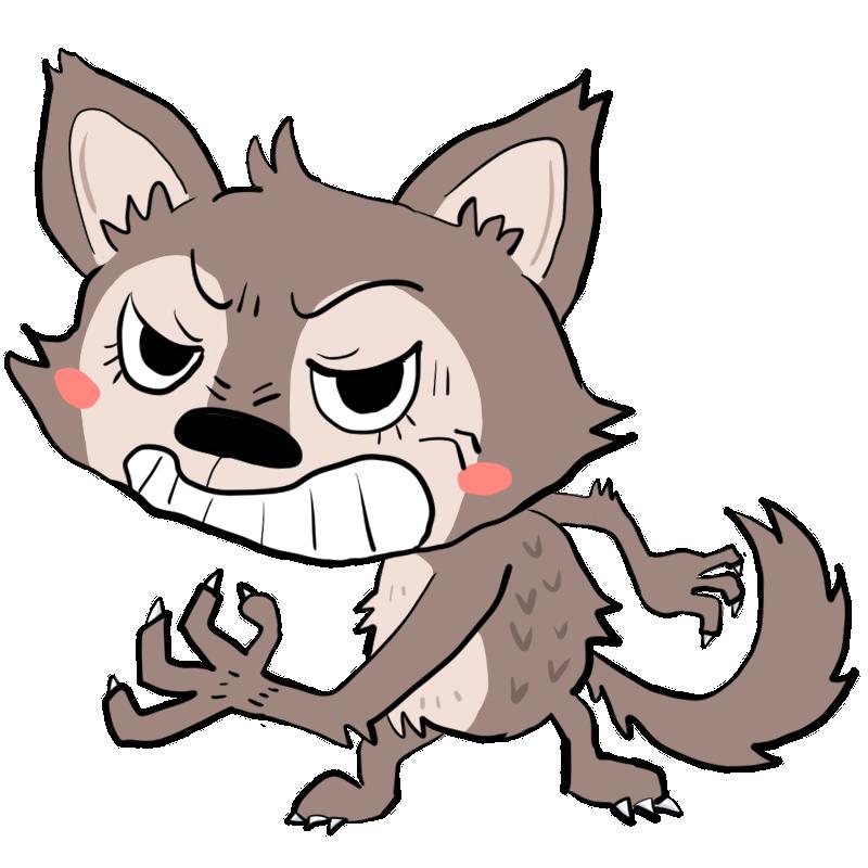 許さーん半身になり今にも飛びかかりそうな怒るオオカミかわいい