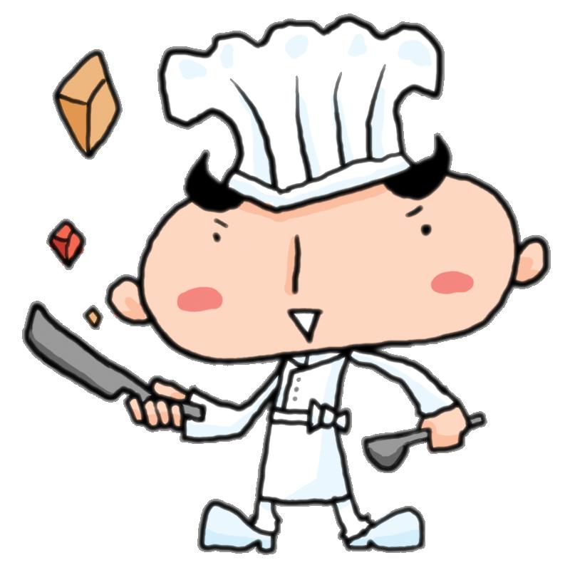 フライパンとおたまを持ってノリノリで料理する男のコックさんかわいい
