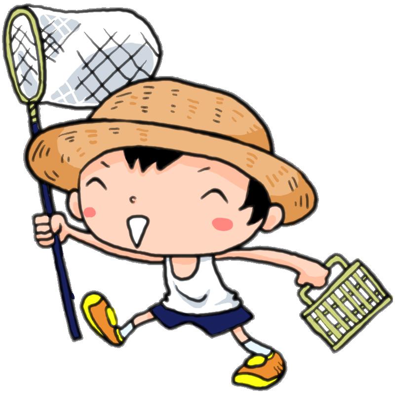 夏だ虫取り網と虫かごを持っていざゆかん麦わら帽子の男の子